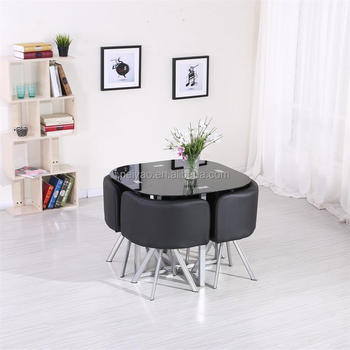 2017 New Design Space Saving Hideaway Dining Table And Chair Set