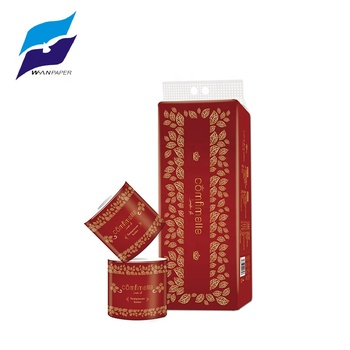 red printed packing 3 ply soft toilet tissue virgin with standard roll virgin pulp paper