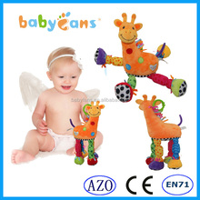 babyfans 2015 baby gift baby teether plush toy with rattles baby crib hanging toy giraffe