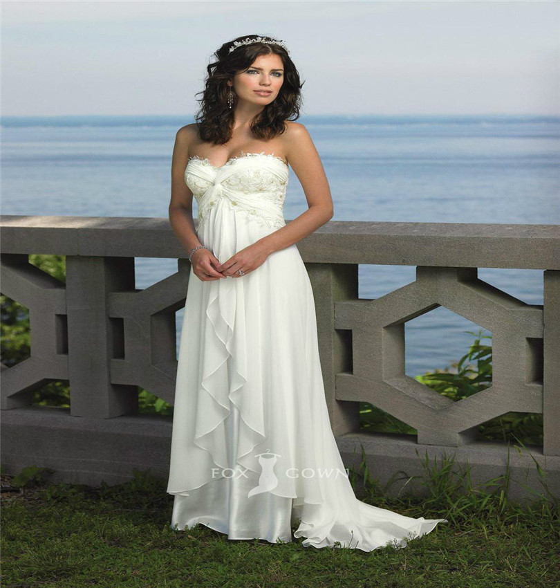 Simple Lace Wedding Dress Cheap Informal Bride Dress Half: Strapless Chiffon Sweetheart Beach Wedding Dress With