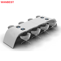 Artificial Stone Curved Office Conference Room Modern Meeting Table
