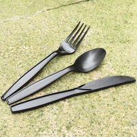 Black Color Medium Weight Plastic PP cutlery Kit