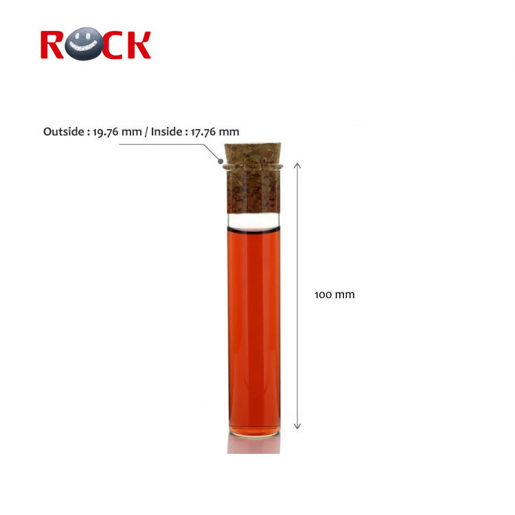 Clear 2*10cm Test Glass perfume tube with wooden cork