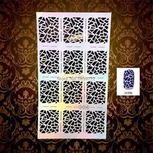 1PC Fashion Flash Nail Art Stencil Out Pattern Manicure Decals Nail Decoration JV206 Polish Makeup Tips