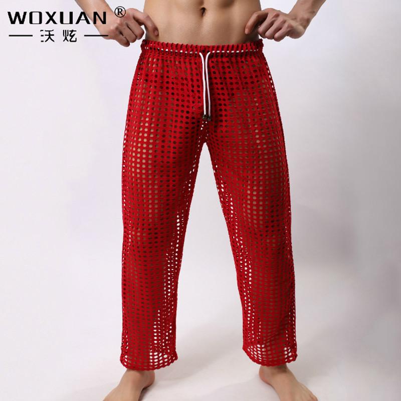 Men sexy mesh pants for men long pants sheer Breathable ...