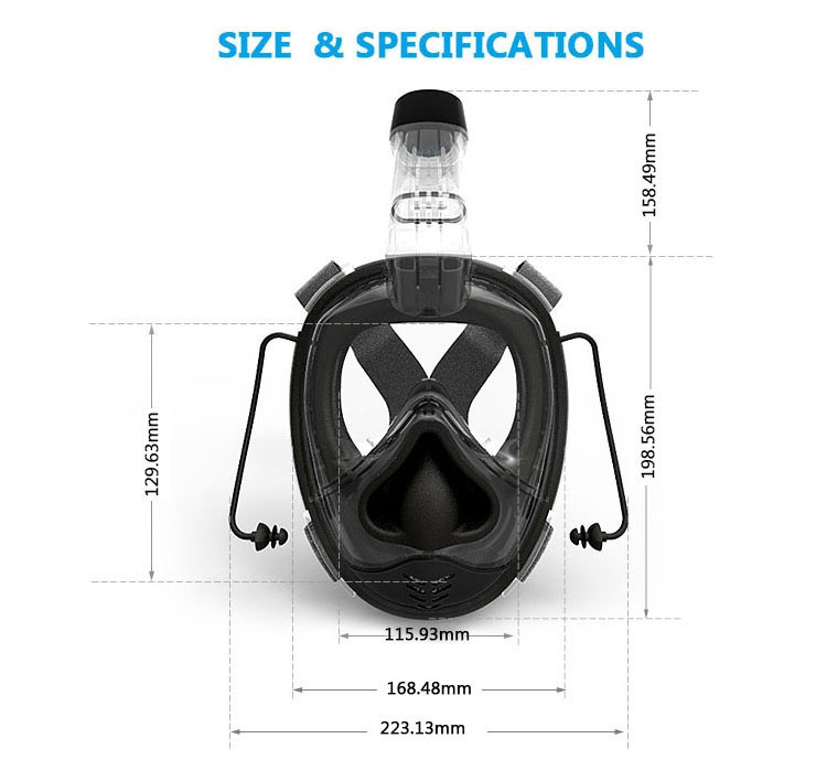 Funjet China Water Sports Light weight Scuba Diving Set 180 Degree Full Face Snorkel Mask