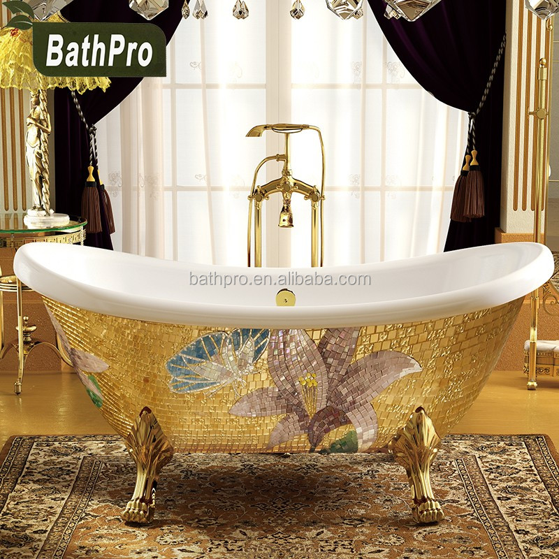 Oro acrilico freestanding profonda vasca da bagno portatile per la vendita con quattro gambe - Bagno portatile ...