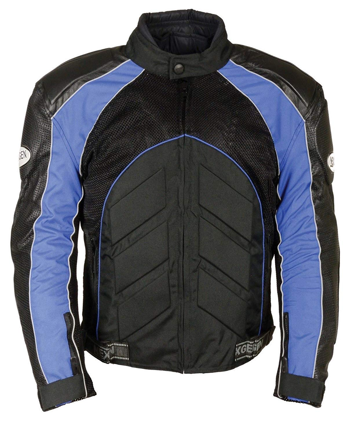 Shaf MEN'S MOTORCYCLE PERFORATED LEATHER & MESH RACER JACKET W/ARMOUR PROTECTION RED (L Blue)