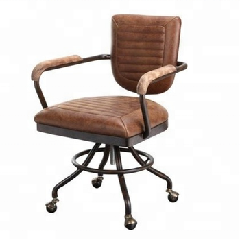 Tan Grain Leather Unique Design Industrial Style Office Swivel Chair