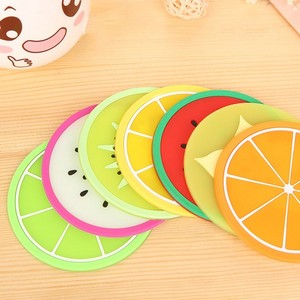 Heat Resistant Oem Eco-Friendly Silicone Products Fruit Design Round Drink Cup Silicone Coaster Cup Mat
