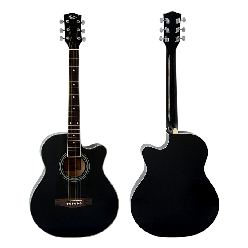 40 Inch Cheap Black Colour Lindenwood Body Acoustic Guitar For Sale