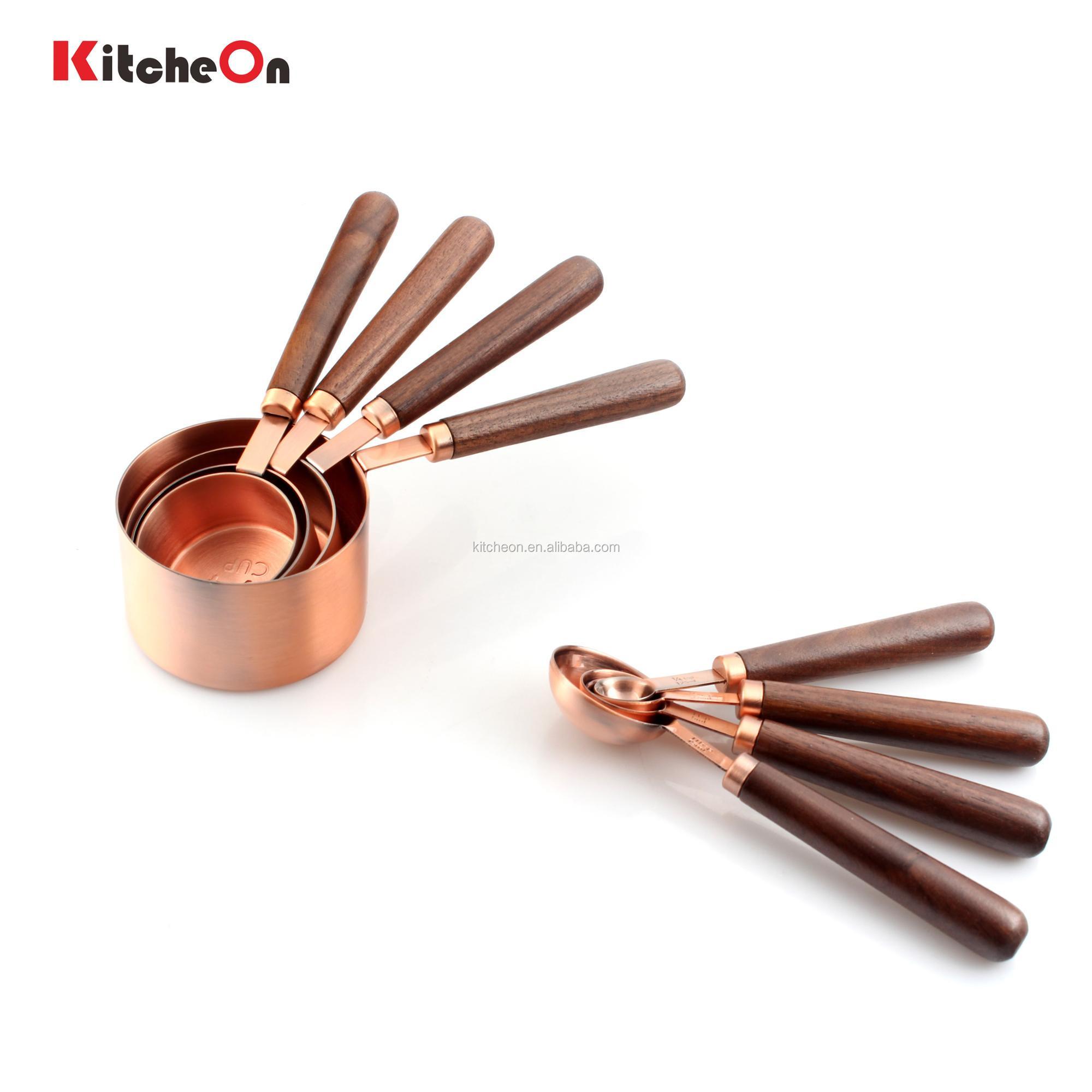 최신 나무 손잡이 골동품 구리 측정 컵 숟가락 8 조각 세트