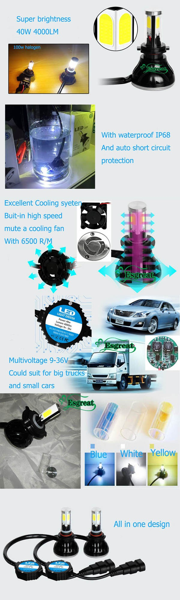China Suppliers G5 H4 H13 9004 9007 4000lm Ip68 Motorcycle Parts ...