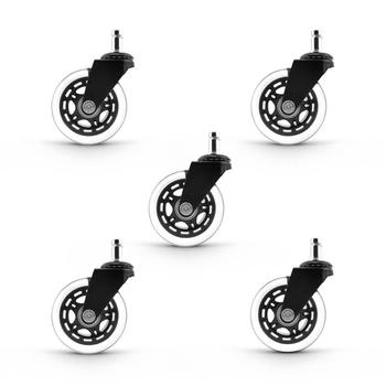 Light duty black and clear polyurethane swivel wheels for skate board