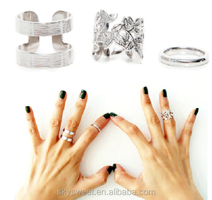 hollow leaf silver knuckle metal ring,fashion ring set lady tat ring design(SWTPR1618)