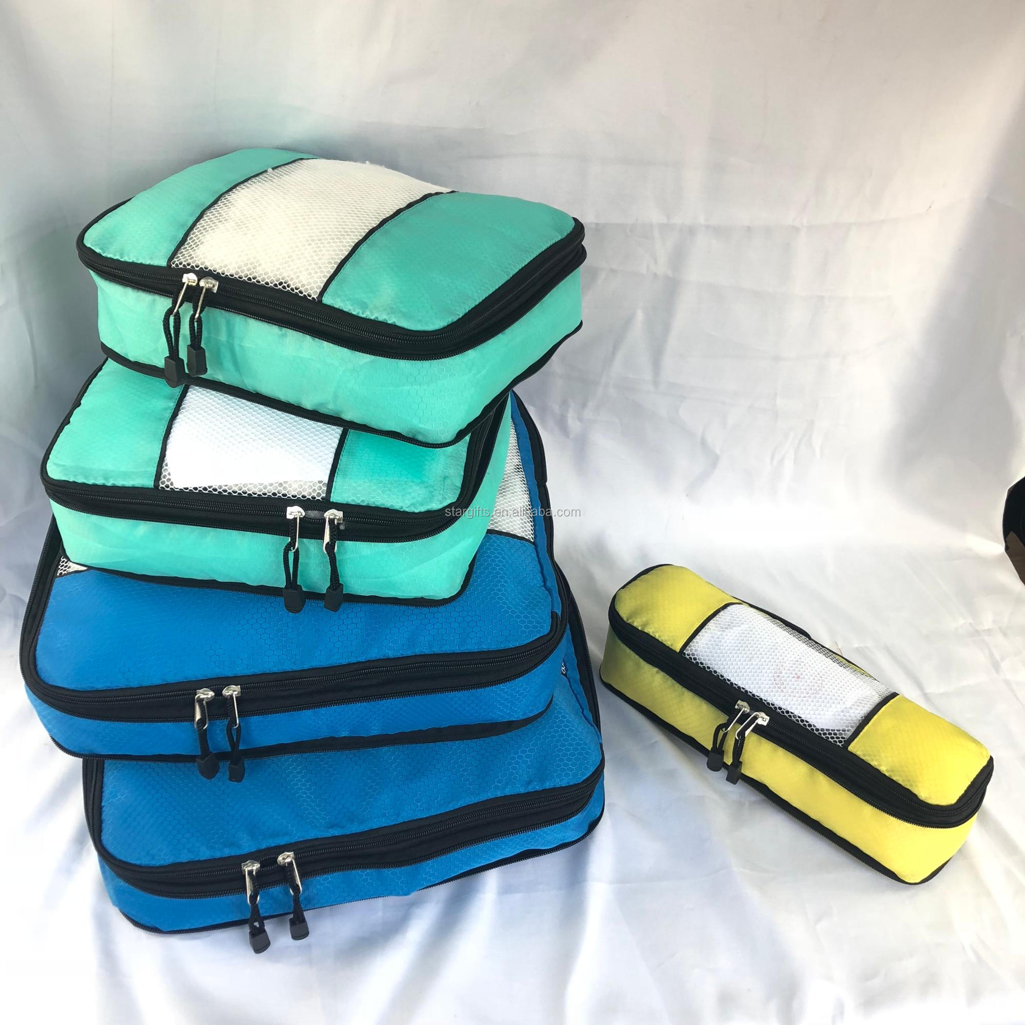 High Quality Travel Organizers Luggage Carry on Nylon Packing Cubes With Shoe Bag