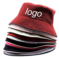 Customized Logo Bucket Hat Unisex Embroidery Fisherman Washed Kid Hat Bucket Cap Red Sun Fishing cap UV Bucket Hat