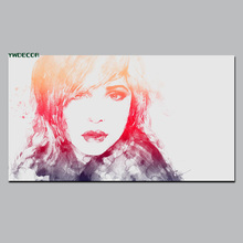 Modern Protrait Sketch Style Wall Art Canvas Painting Beauty Girl Digital Print Fabric Picture