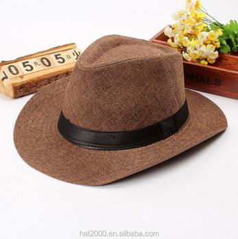 18919ac2b81ee Homens De Palha chapéu de verão Chapéu de Cowboy Cap Praia Aba Larga  Sunbonnet Panamá Chapéus