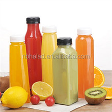 French Square Plastic PET Material Juice Bottle Disposable Cold Pressed Beverage Bottle For Drinking