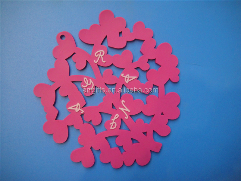 Personalized Tree Rose Red Soft PVC Rubber Coffee Cup Coaster Hollowed Plastic Design