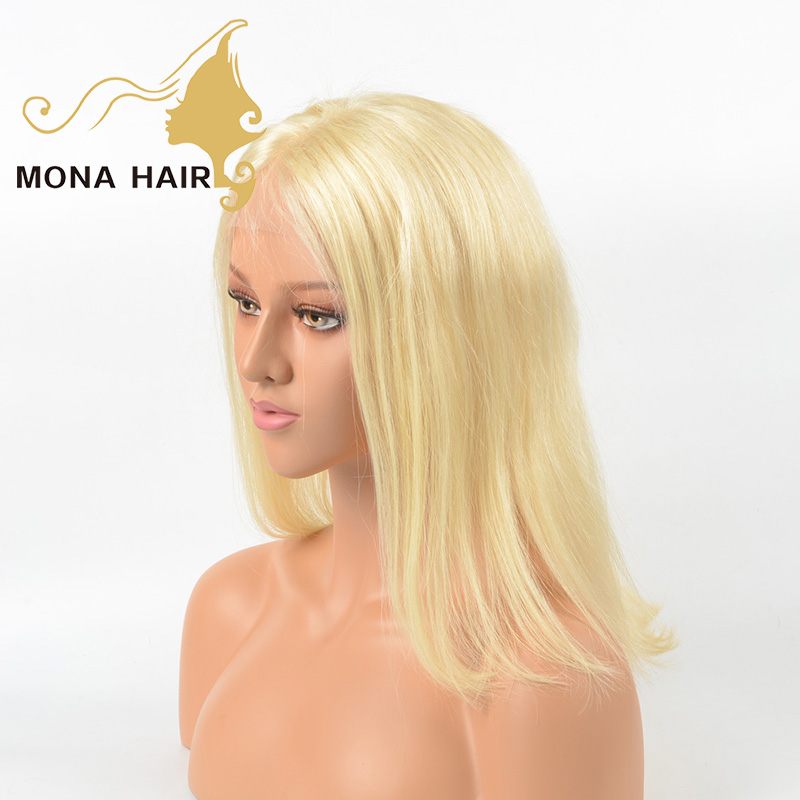 Wholesale high density natural hairline pre plucked bleached knots color #613 human hair full lace blonde wig for white women