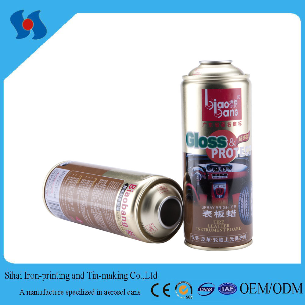 Aerosol Tin Can/ Spray Aerosol Can with Golden Oil for Car Care Products