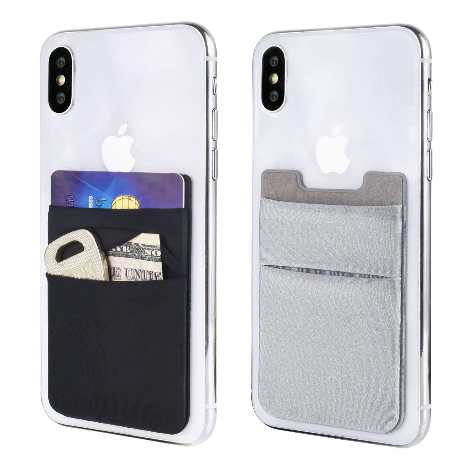 Newseego [2pc] Phone Card Wallet Sticker Stick On Wallet Card Sleeves Stretchy Double Pocket Pouch Slim Self Adhesive Credit Card Holder for All Smartphones ( Black and Grey )