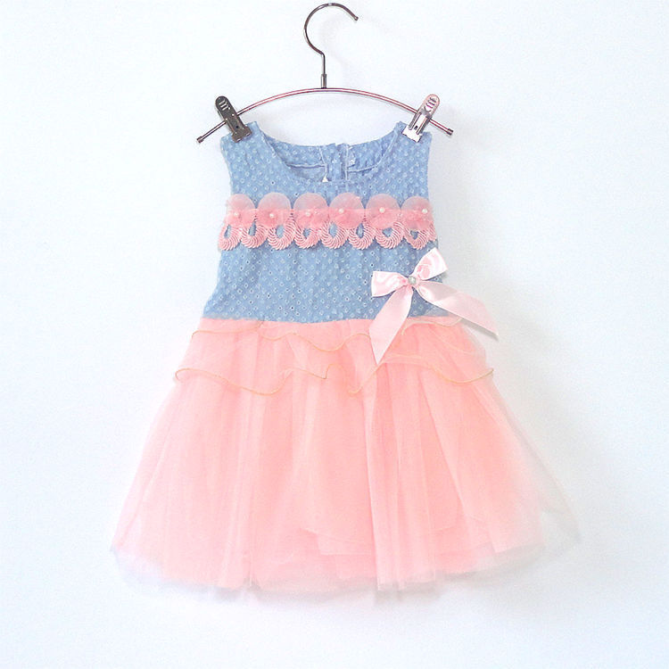 Designer Clothing Uk Newborn Toddler Girl Jean And Lace Patched Baby 1 Birthday Dress