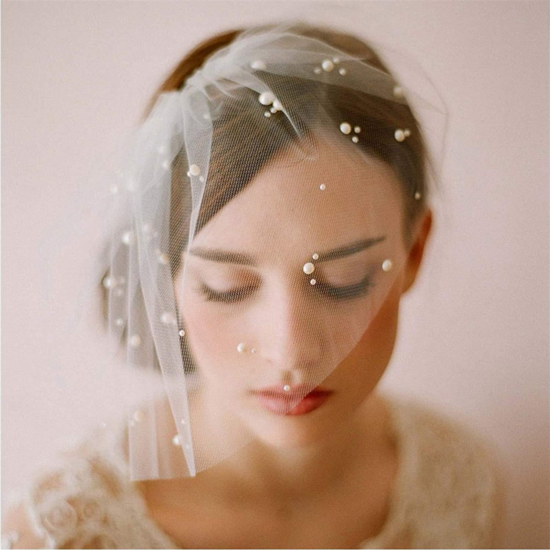QYU Bridal Birdcage Veil Short Birdcage Mesh Women's Headwear