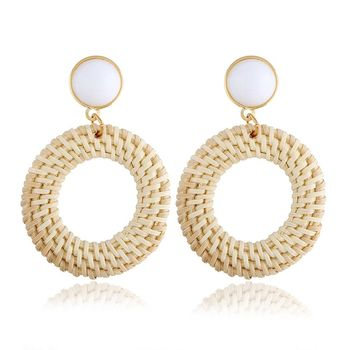 Fashion Hot Sale Multi-layer Wood Rattan Wooden Handmade Woven Ring Earrings