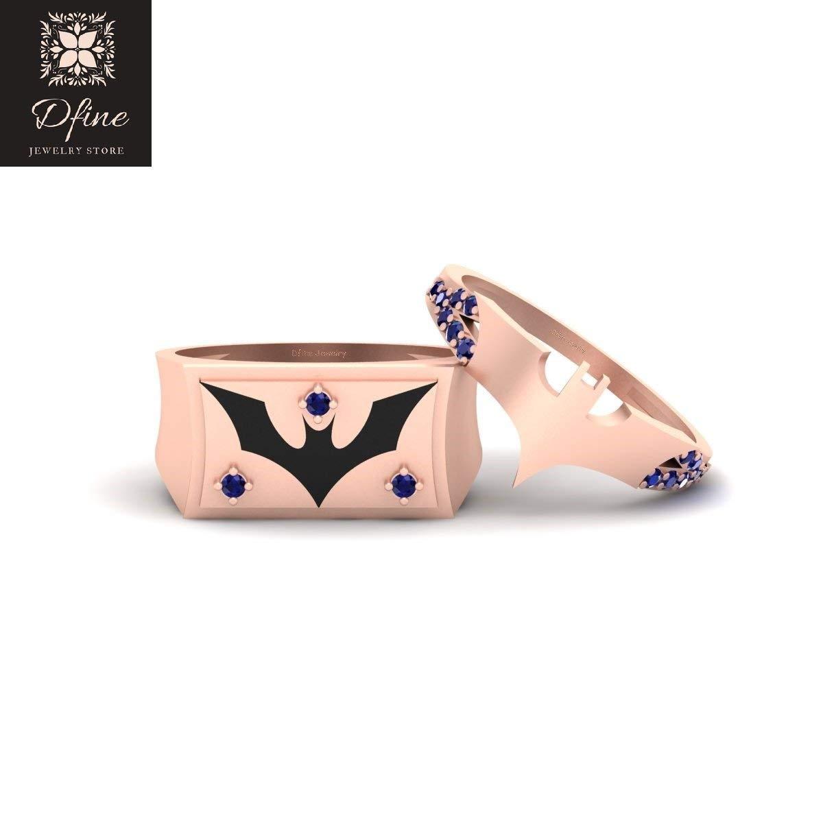 Holy Smokes Fantasy Superhero Batman Theme Wedding Ring Band Set Matching Batman Couple Rings Solid 14k Rose Gold