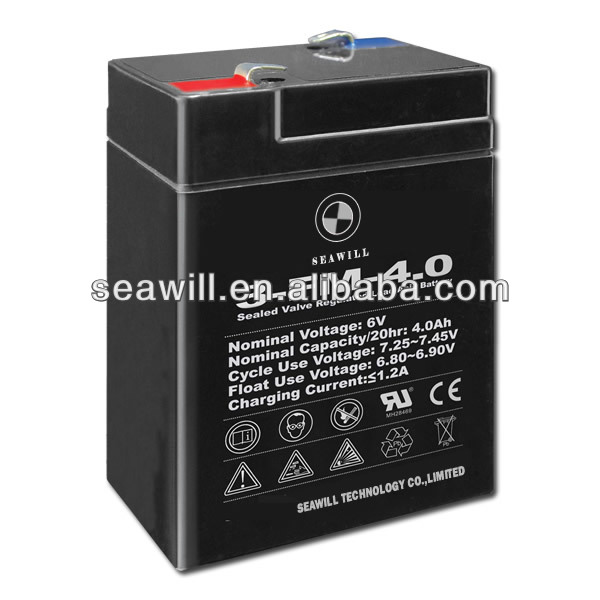 6V 4Ah electric scooter rechargeable lead acid battery