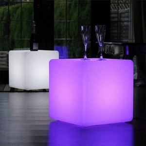 40cm led cube/glowing cube table/plastic led lighted furniture cube seat chair