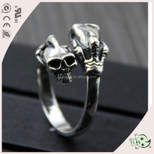 Double skull open design without zircon paving popularmen's rings S925 sterling silver ring