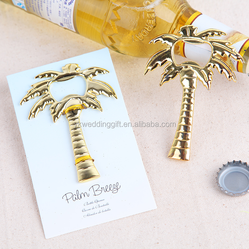 Golden Tone Coconut Tree Beer Bottle Opener <strong>Wedding</strong> Favors Thanks Ceremony Gift <strong>wedding</strong> guest gift