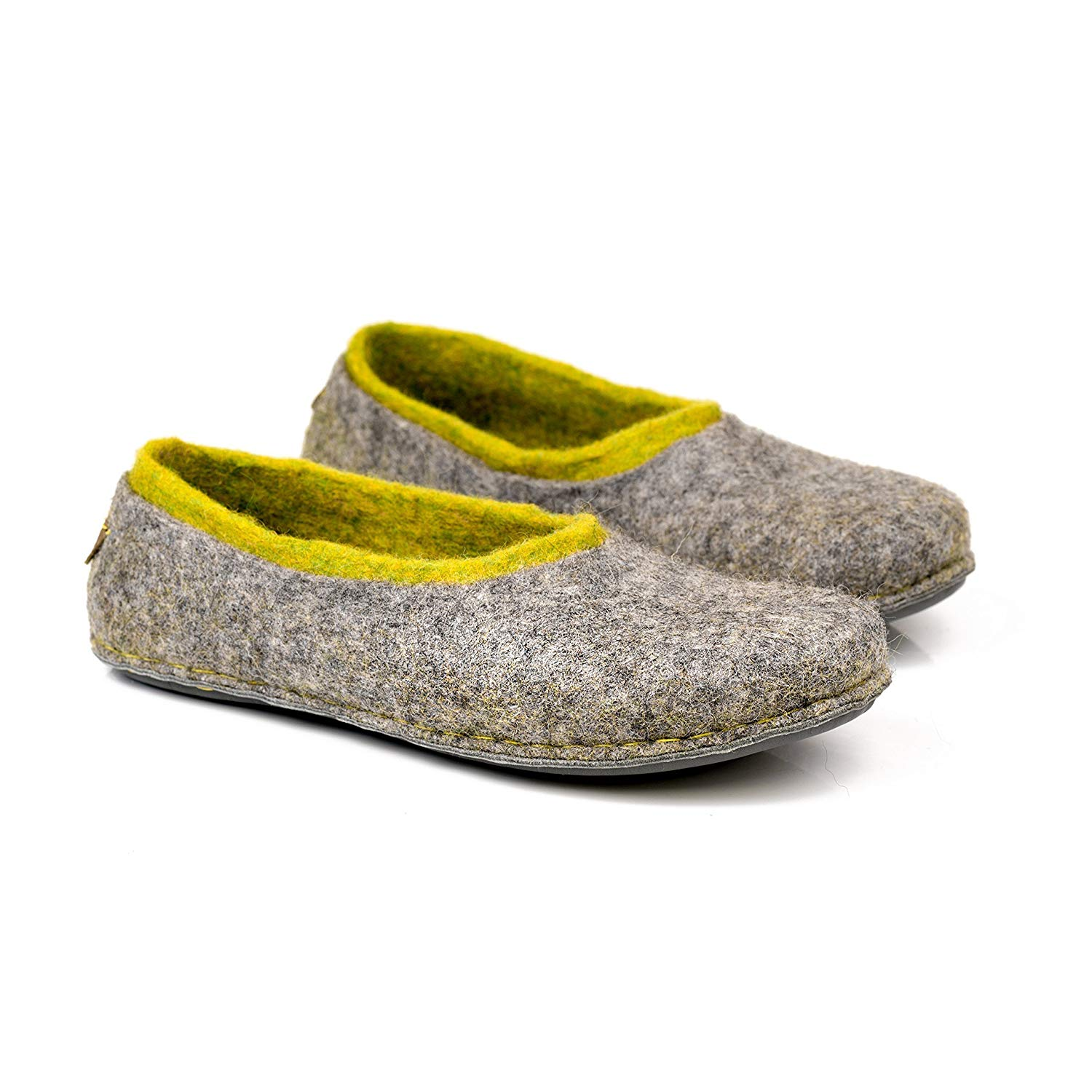 d0141d1a8f91 Get Quotations · Gray felted wool slippers with neon green inner layer for  her, Handmade women home shoes