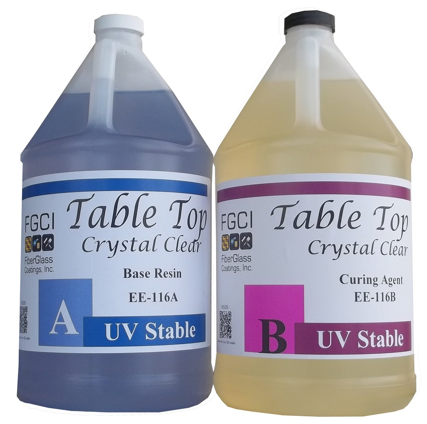 Epoxy Crystal Clear Table Top Resin, 1:1, 2 Gallon Kit, Crystal Clear, Parts A & B Included