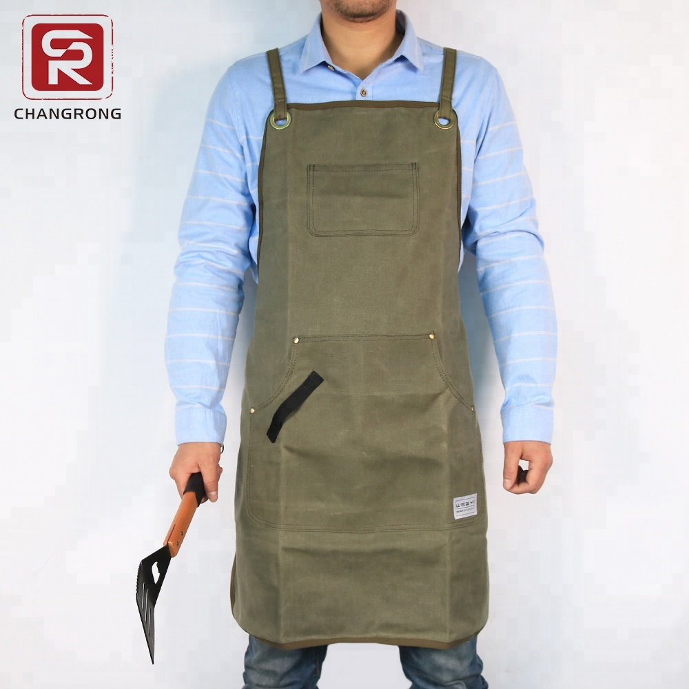 Heavy duty plain color waterproof waxed canvas poly cotton work uniform tool apron with logo