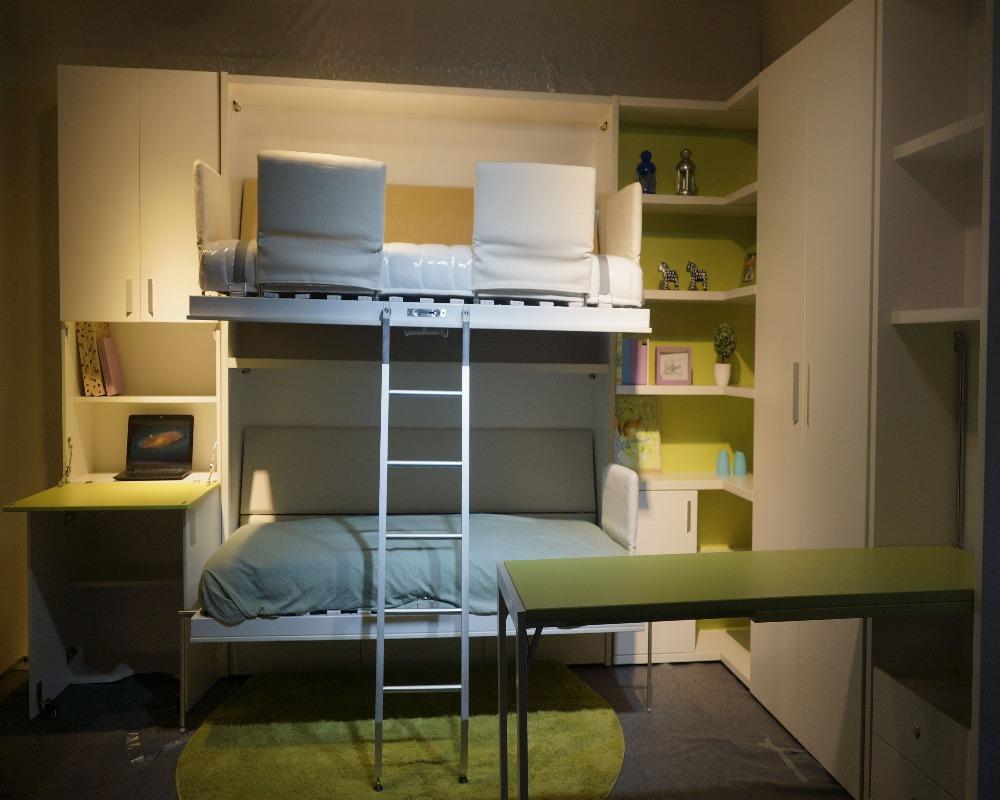 Murphy Bed Folding Wall Mounted With Bunk Design Hidden Product On
