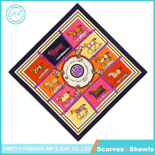 Pretty Fashion Popular Oil Paiting Style Colorful Horses 100% Twill Silk Scarf