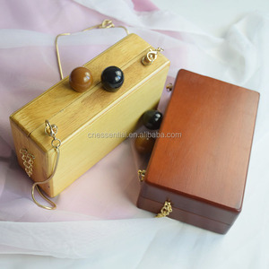 Woman ladies vintage wood clutch bag, woman wood purse with handles