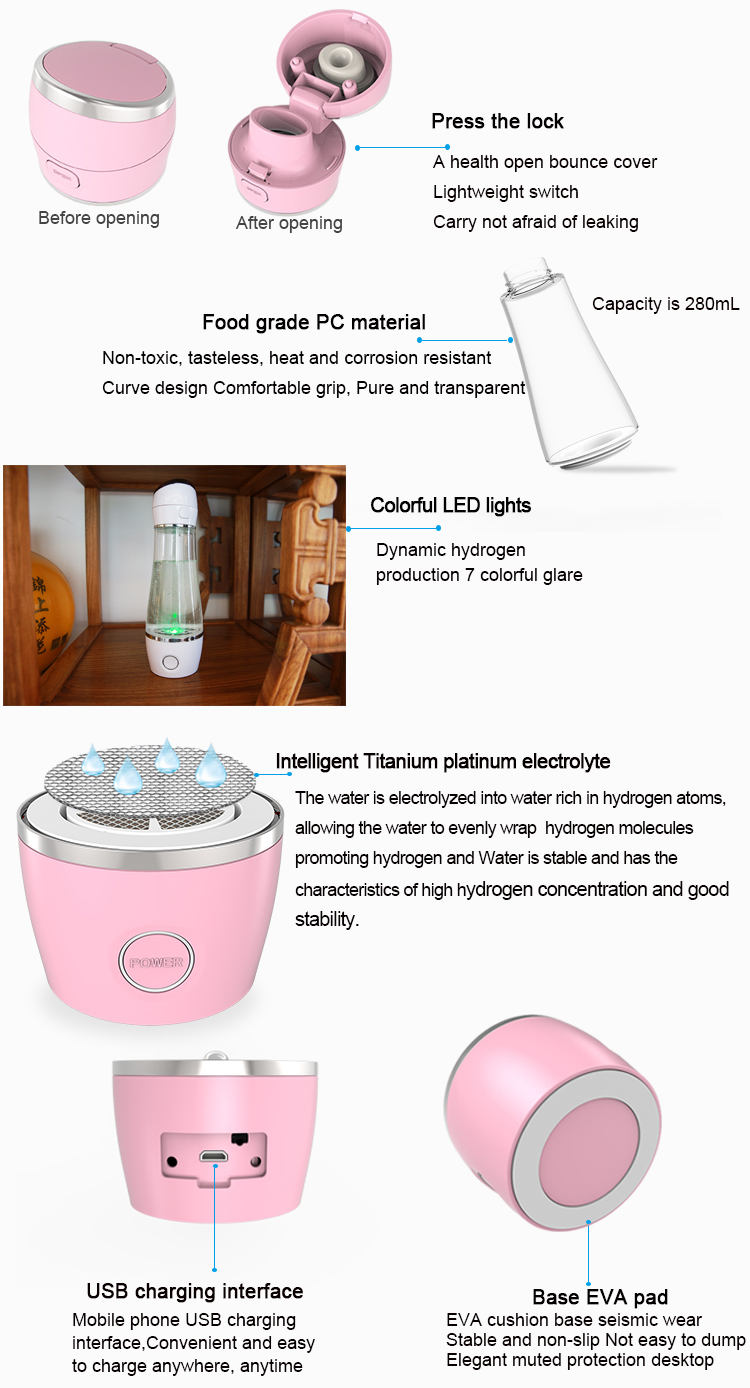 Portable 280Ml Drinking PEM SPE Factory Hydrogen Water Bottle Hydrogen Water Ionizers