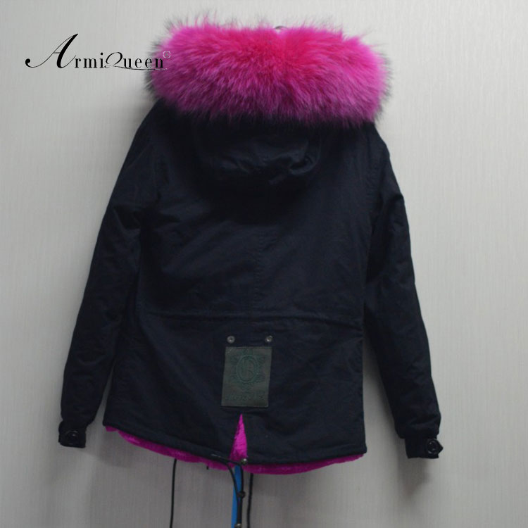 Fashion Rose Pink Faux Fur Lining With Real Fur Collar Womens ...