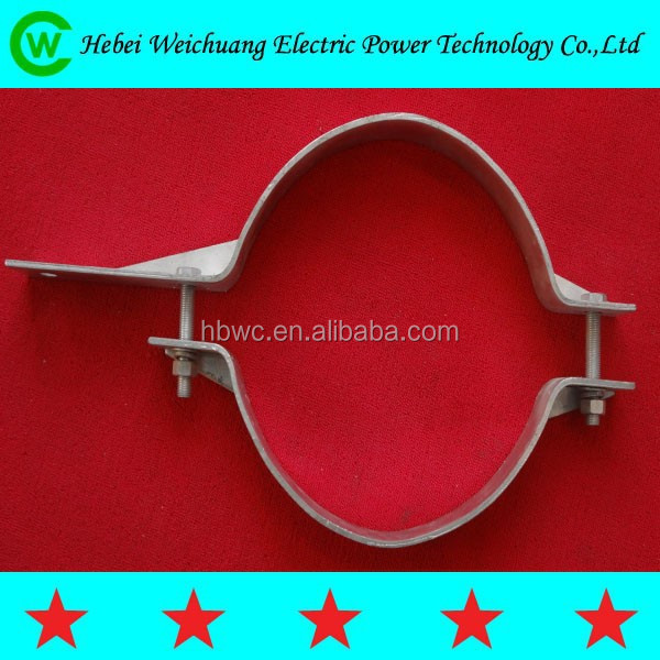 2015Hebei Weichuang high quality hot dip galvanized 2-way/4-way single offset or double offset pole band/ pole clamp