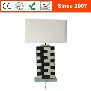 Top quality mirror random cross glass luxury table lamp with novel triangular fabric lampshade