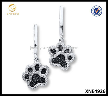 925 Sterling Silver Paw Print Earrings Micro Pave Earrings Jewelry