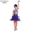 TONGYANG Children Sequined Latin Ballroom Dance Dress Kids Girls Dancewear Fringe Skirts Latin Stage Dance Costume Clothing