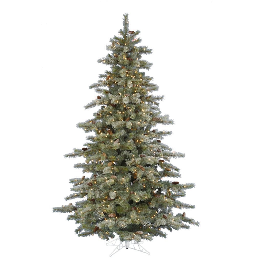 7.5 ft. Artificial Christmas Tree - High Definition Pine Needles and Cones - Frosted Sartell - Prelit with Clear Mini Christmas Lights - Vickerman A111476