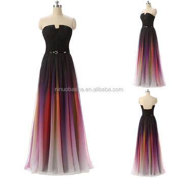 NW1201 Graduated Colors Women Dress Chiffon Prom Gown special occasions prom dresses